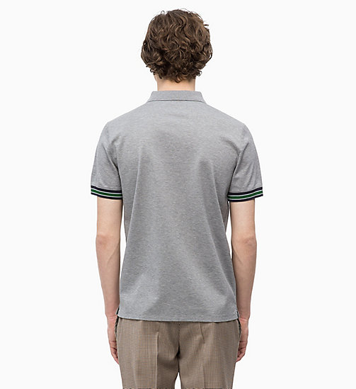 CALVINKLEIN Cotton Mesh Piqué Polo - MID GREY HEATHER - CALVIN KLEIN CLOTHES - detail image 1