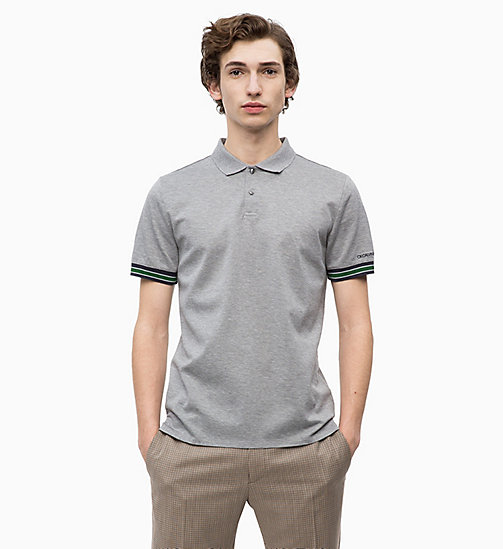 CALVINKLEIN Cotton Mesh Piqué Polo - MID GREY HEATHER - CALVIN KLEIN CLOTHES - main image