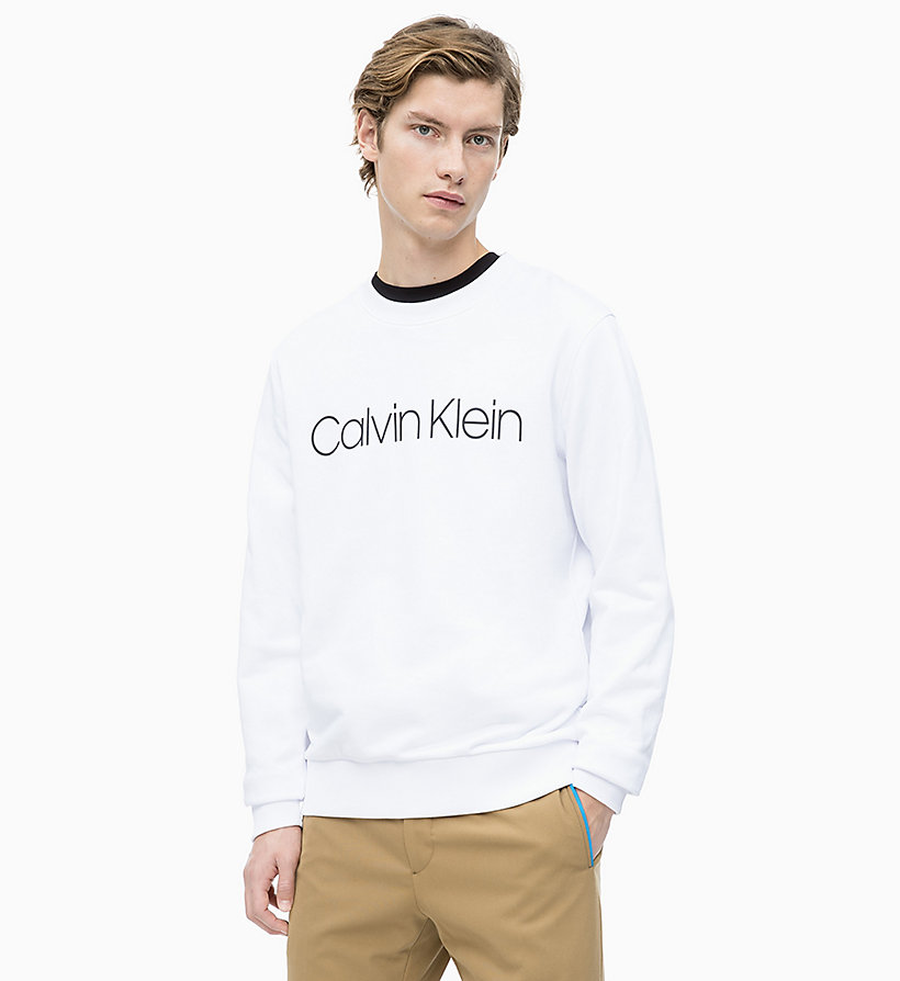 CALVIN KLEIN Organic Cotton Logo Sweatshirt - PERFECT BLACK - CALVIN KLEIN UNDERWEAR - main image