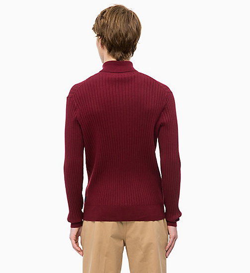 CALVINKLEIN Wool Cotton Turtleneck Jumper - IRON RED - CALVIN KLEIN INVEST IN COLOUR - detail image 1