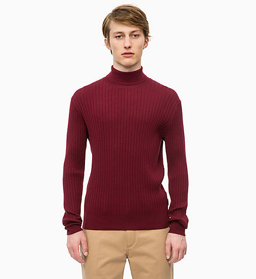 CALVINKLEIN Wool Cotton Turtleneck Jumper - IRON RED - CALVIN KLEIN INVEST IN COLOUR - main image