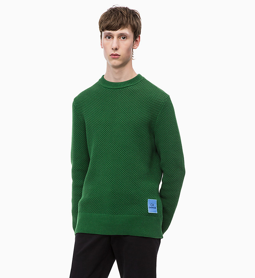 CALVINKLEIN Combed Cotton Jumper - 413-SKY CAPTAIN - CALVIN KLEIN MEN - main image