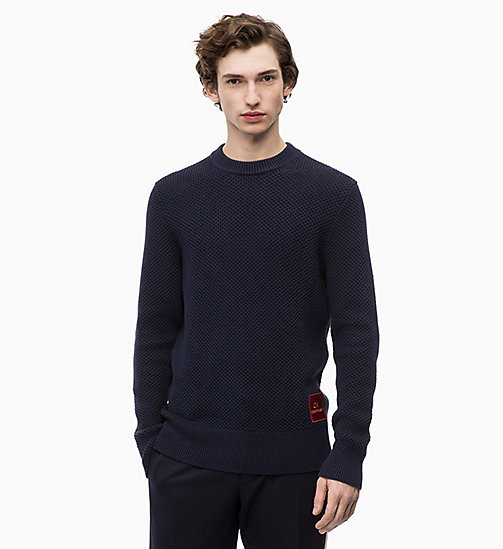 CALVINKLEIN Combed Cotton Jumper - 413-SKY CAPTAIN - CALVIN KLEIN NEW IN - main image