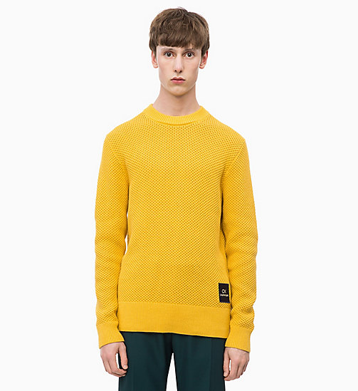CALVINKLEIN Combed Cotton Jumper - OCHRE YELLOW - CALVIN KLEIN NEW IN - main image