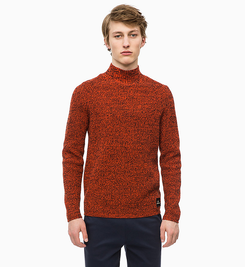 CALVIN KLEIN Mouliné Wool Jumper - 413-SKY CAPTAIN - CALVIN KLEIN MEN - main image