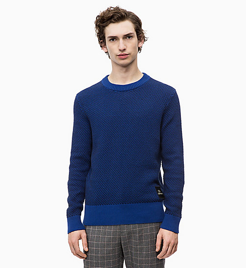 CALVINKLEIN Two-Tone Cotton Jumper - SODALITE BLUE - CALVIN KLEIN CLOTHES - main image