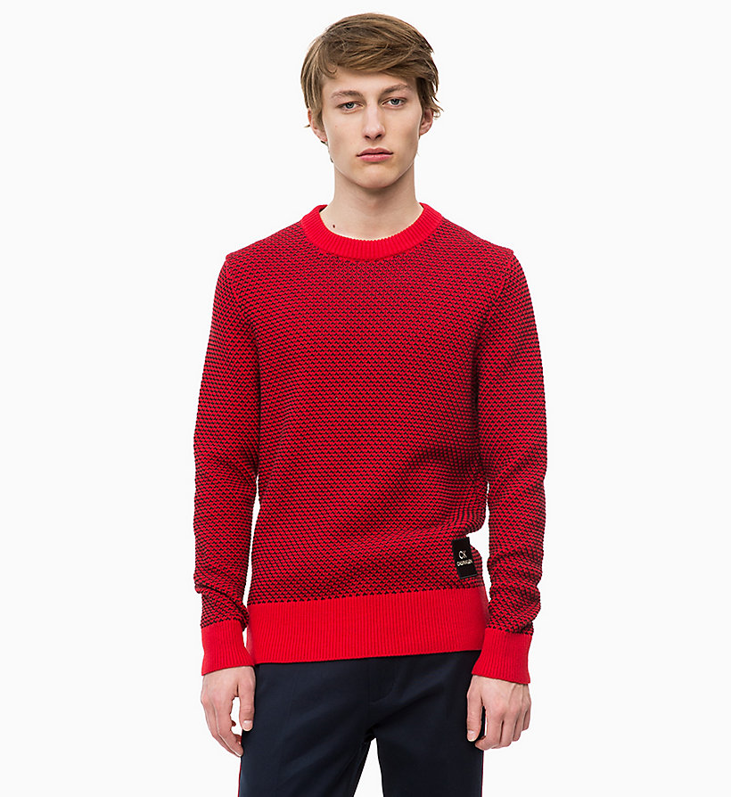 CALVINKLEIN Two-Tone Cotton Jumper - SODALITE BLUE - CALVIN KLEIN MEN - main image