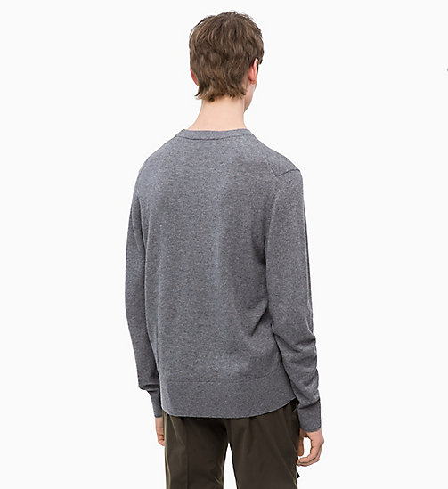 CALVINKLEIN Wool Cotton Jumper - MID GREY HEATHER - CALVIN KLEIN CALVIN KLEIN MENSWEAR - detail image 1