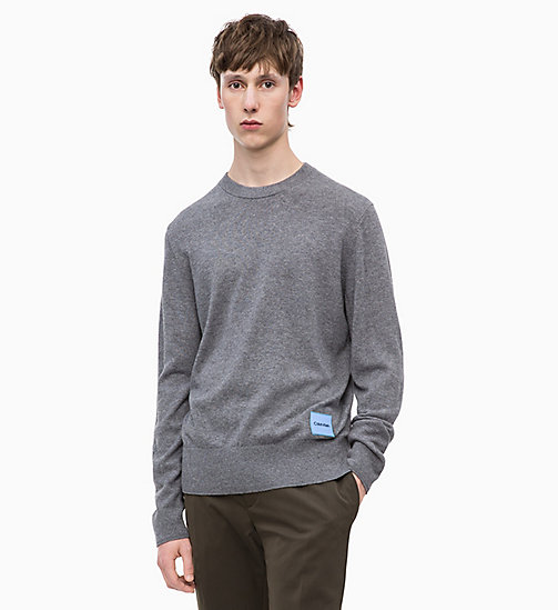 CALVINKLEIN Wool Cotton Jumper - MID GREY HEATHER - CALVIN KLEIN CALVIN KLEIN MENSWEAR - main image
