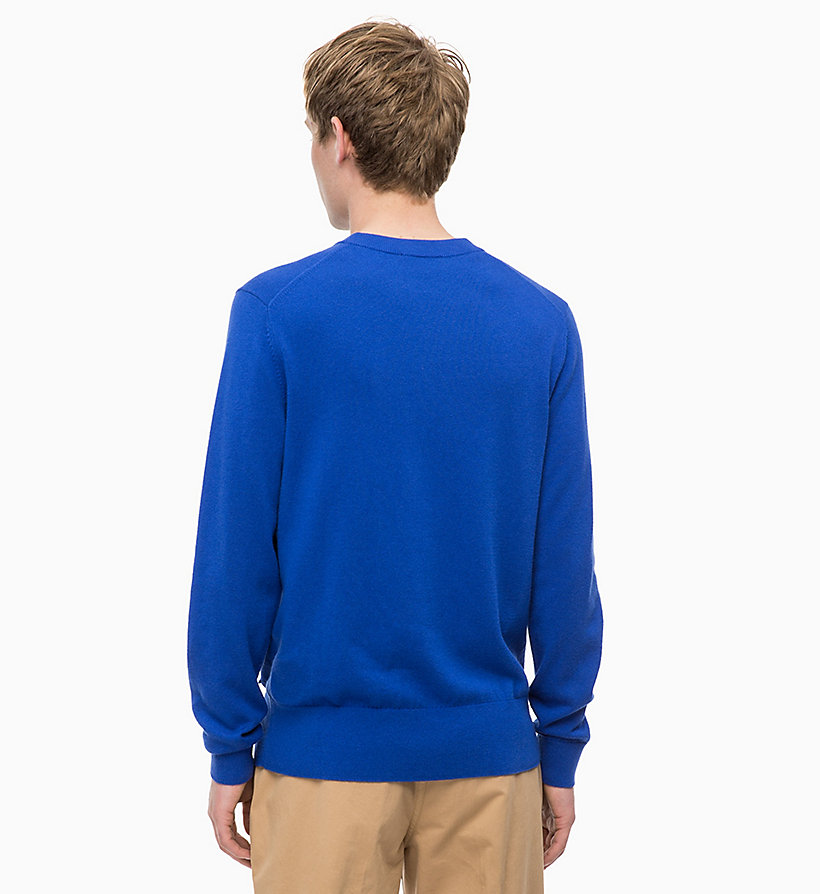 CALVIN KLEIN Wool Cotton Jumper - 413-SKY CAPTAIN - CALVIN KLEIN MEN - detail image 1