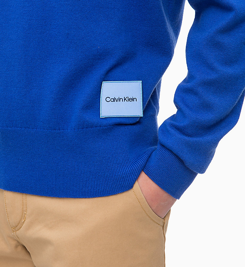 CALVIN KLEIN Wool Cotton Jumper - 413-SKY CAPTAIN - CALVIN KLEIN MEN - detail image 2