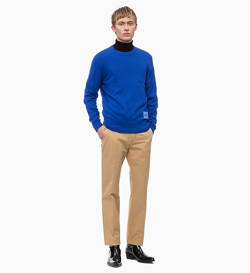 CALVIN KLEIN Wool Cotton Jumper - 413-SKY CAPTAIN - CALVIN KLEIN MEN - detail image 3