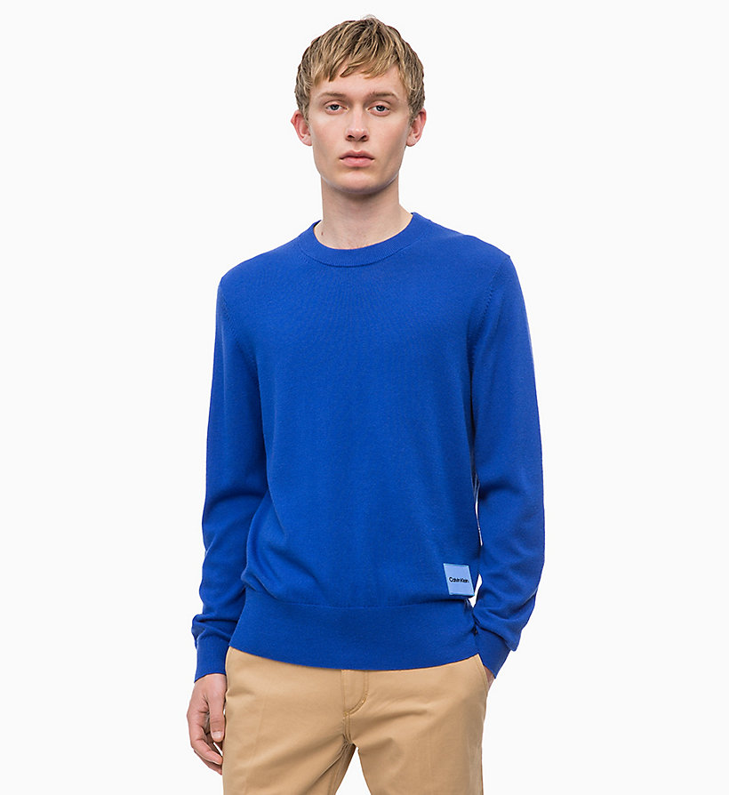 CALVIN KLEIN Wool Cotton Jumper - 413-SKY CAPTAIN - CALVIN KLEIN MEN - main image