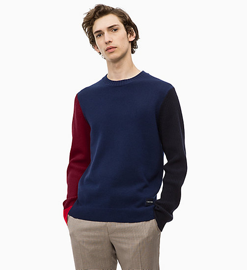 CALVINKLEIN Wool Colour Block Jumper - SODALITE BLUE - CALVIN KLEIN CLOTHES - main image