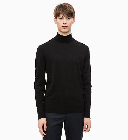 CALVINKLEIN Superior Wool Turtleneck Jumper - PERFECT BLACK - CALVIN KLEIN CALVIN KLEIN MENSWEAR - main image
