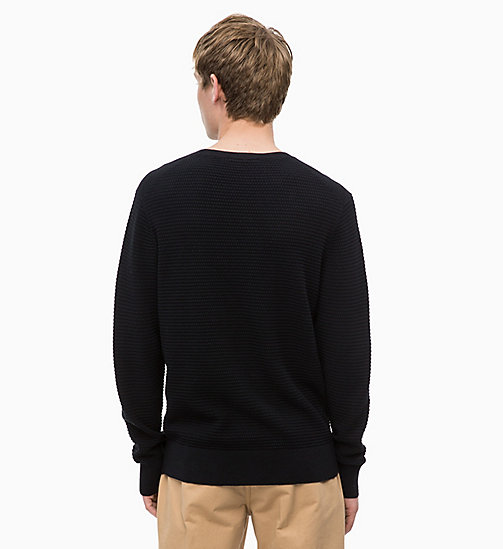 CALVINKLEIN Cotton Wool Jumper - PERFECT BLACK - CALVIN KLEIN CALVIN KLEIN MENSWEAR - detail image 1