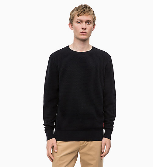 CALVIN KLEIN Cotton Wool Jumper - PERFECT BLACK - CALVIN KLEIN CALVIN KLEIN MENSWEAR - main image