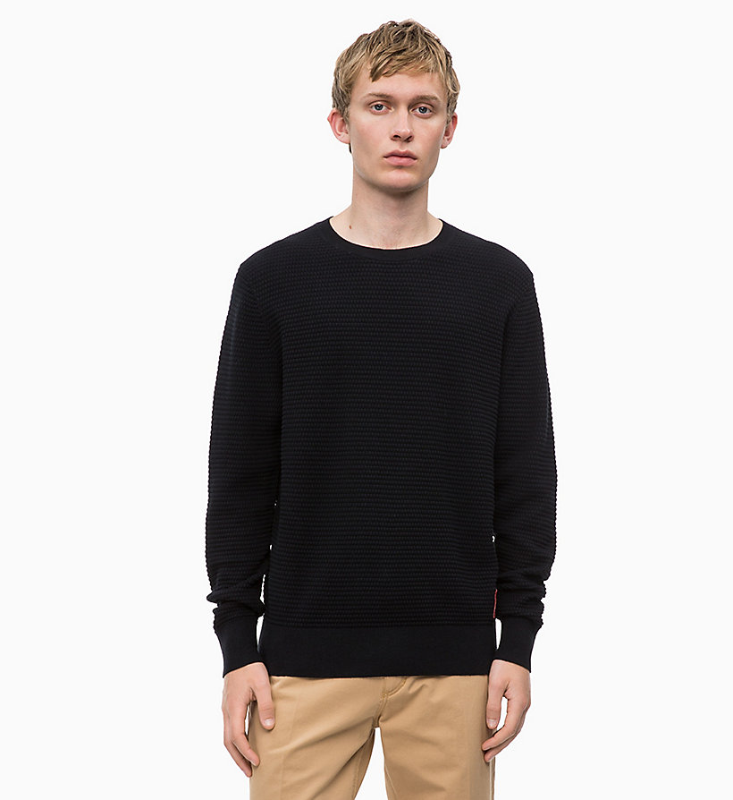 CALVIN KLEIN Cotton Wool Jumper - MID GREY HEATHER - CALVIN KLEIN MEN - main image