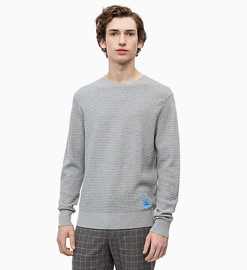 CALVINKLEIN Sweater aus Baumwoll-Woll-Mix - MID GREY HEATHER - CALVIN KLEIN NEW IN - main image