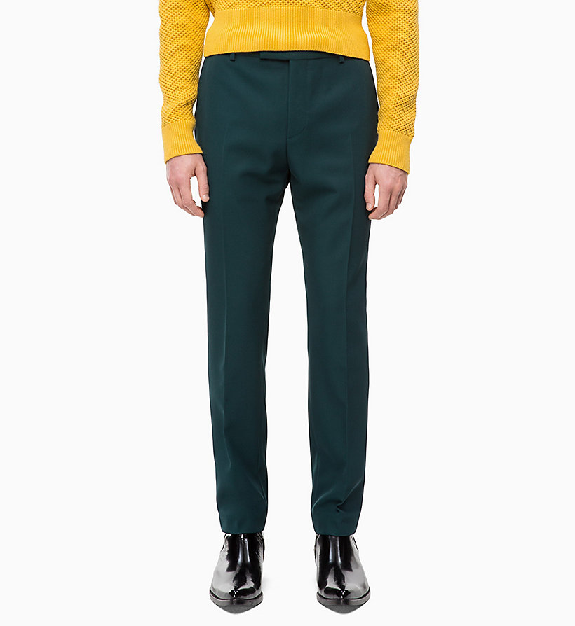 CALVINKLEIN Fitted Wool Blend Trousers - POSEIDON - CALVIN KLEIN MEN - main image