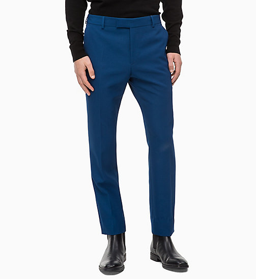 CALVIN KLEIN Fitted Wool Blend Trousers - POSEIDON - CALVIN KLEIN CALVIN KLEIN MENSWEAR - main image