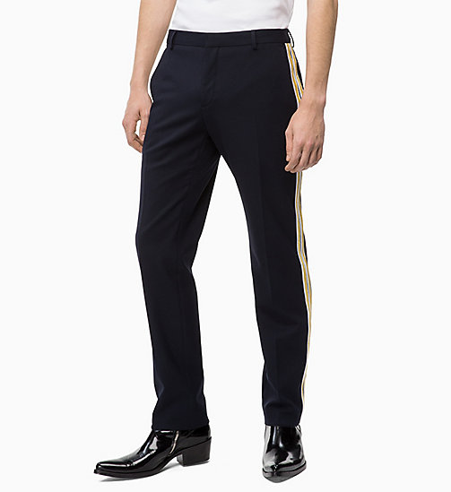 CALVIN KLEIN Fitted Side-Stripe Trousers - 413-SKY CAPTAIN - CALVIN KLEIN CALVIN KLEIN MENSWEAR - main image