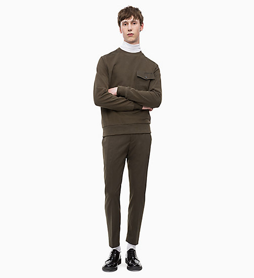 CALVIN KLEIN Fitted Wool Blend Trousers - DARK OLIVE - CALVIN KLEIN CALVIN KLEIN MENSWEAR - detail image 1