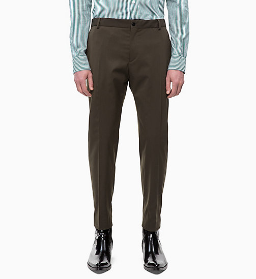 CALVIN KLEIN Fitted Wool Blend Trousers - DARK OLIVE - CALVIN KLEIN CALVIN KLEIN MENSWEAR - main image