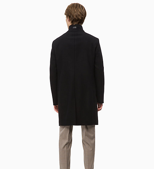 CALVINKLEIN Wool Cashmere Funnel Coat - PERFECT BLACK - CALVIN KLEIN INVEST IN COLOUR - detail image 1