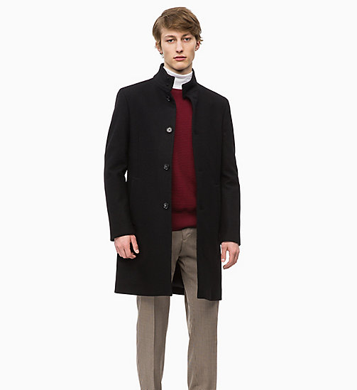 CALVINKLEIN Wool Cashmere Funnel Coat - PERFECT BLACK - CALVIN KLEIN INVEST IN COLOUR - main image