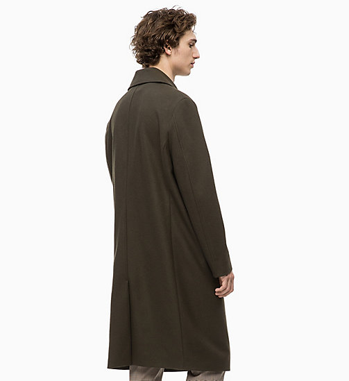 CALVINKLEIN Wool Felt Long Coat - DARK OLIVE - CALVIN KLEIN INVEST IN COLOUR - detail image 1