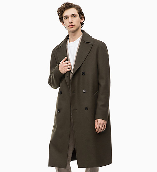 CALVINKLEIN Wool Felt Long Coat - DARK OLIVE - CALVIN KLEIN INVEST IN COLOUR - main image