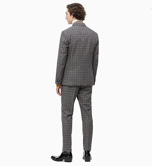 CALVINKLEIN Fitted Virgin Wool Check Suit - FORGED IRON - CALVIN KLEIN INVEST IN COLOUR - detail image 1