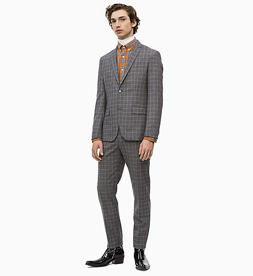CALVINKLEIN Fitted Virgin Wool Check Suit - FORGED IRON - CALVIN KLEIN INVEST IN COLOUR - main image