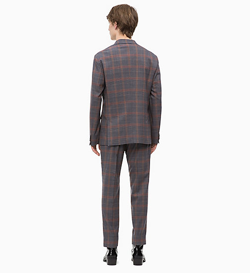 CALVINKLEIN Fitted Stretch Wool Check Suit - POSEIDON - CALVIN KLEIN INVEST IN COLOUR - detail image 1