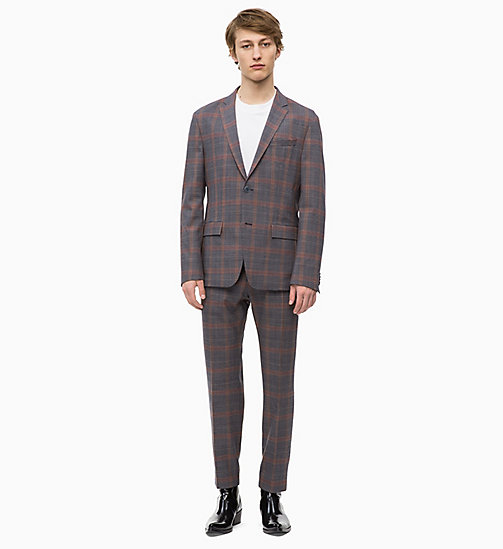 CALVINKLEIN Fitted Stretch Wool Check Suit - POSEIDON - CALVIN KLEIN INVEST IN COLOUR - main image