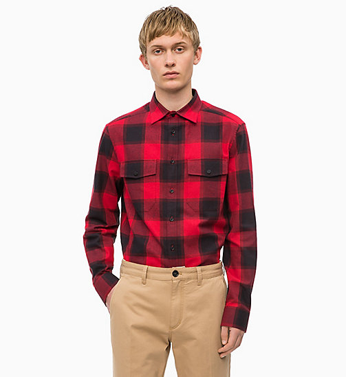 CALVINKLEIN Buffalo Check Shirt - SALSA - CALVIN KLEIN INVEST IN COLOUR - main image