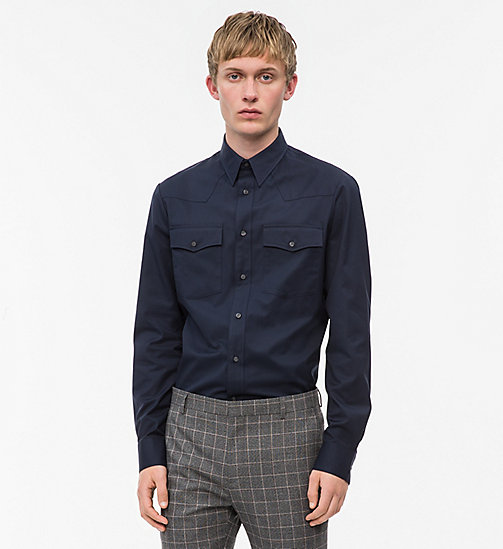 CALVINKLEIN Cotton Twill Western Shirt - SKY CAPTAIN - CALVIN KLEIN INVEST IN COLOUR - main image