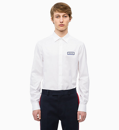 CALVINKLEIN Logo Badge Shirt - PERFECT WHITE - CALVIN KLEIN CALVIN KLEIN MENSWEAR - main image