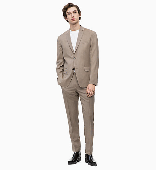 CALVINKLEIN Fitted Virgin Wool Check Suit - TANNIN - CALVIN KLEIN INVEST IN COLOUR - main image