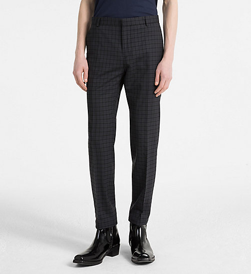 CALVINKLEIN Slim Wool Check Trousers - ASPHALT - CALVIN KLEIN NEW IN - main image