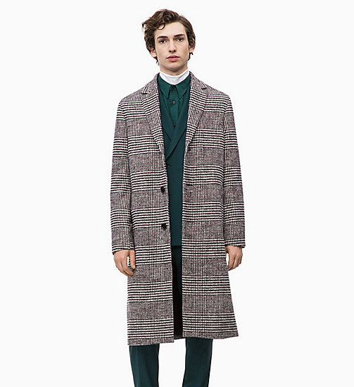 CALVIN KLEIN Cotton Wool Check Coat - IRON RED - CALVIN KLEIN CALVIN KLEIN MENSWEAR - main image