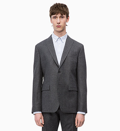 CALVINKLEIN Slim Virgin Wool Blazer - FORGED IRON - CALVIN KLEIN INVEST IN COLOUR - main image