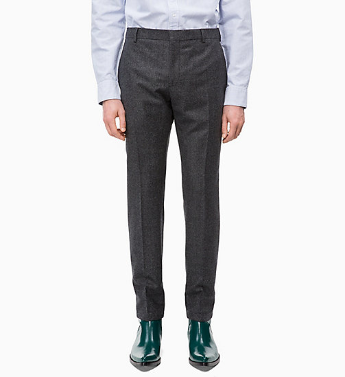 CALVIN KLEIN Slim Virgin Wool Trousers - FORGED IRON - CALVIN KLEIN CALVIN KLEIN MENSWEAR - main image