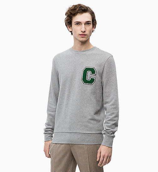 CALVIN KLEIN Свитшот со значком с логотипом - MID GREY HEATHER - CALVIN KLEIN CALVIN KLEIN MENSWEAR - главное изображение