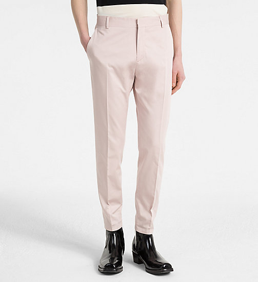 CALVINKLEIN Fitted Cotton Sateen Trousers - ROSE SMOKE - CALVIN KLEIN NEW IN - main image