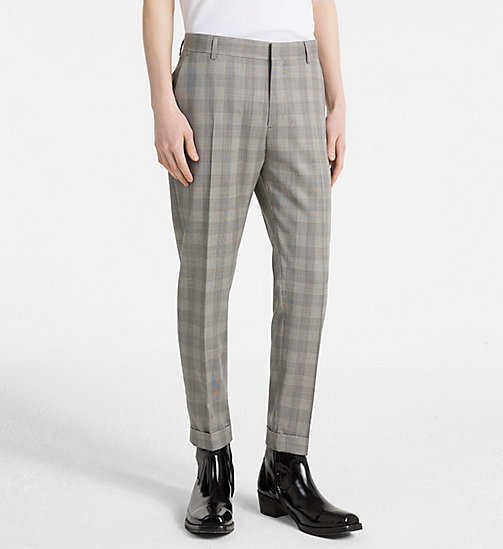 CALVIN KLEIN Fitted Wool Check Trousers - ALLOY - CALVIN KLEIN CLOTHES - main image