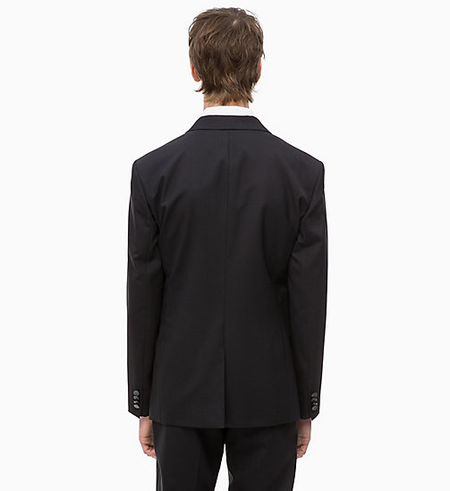 CALVINKLEIN Virgin Wool Tuxedo Blazer - PERFECT BLACK - CALVIN KLEIN INVEST IN COLOUR - detail image 1