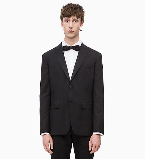 CALVINKLEIN Virgin Wool Tuxedo Blazer - PERFECT BLACK - CALVIN KLEIN INVEST IN COLOUR - main image