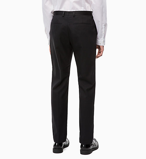 CALVINKLEIN Virgin Wool Tuxedo Trousers - PERFECT BLACK - CALVIN KLEIN INVEST IN COLOUR - detail image 1